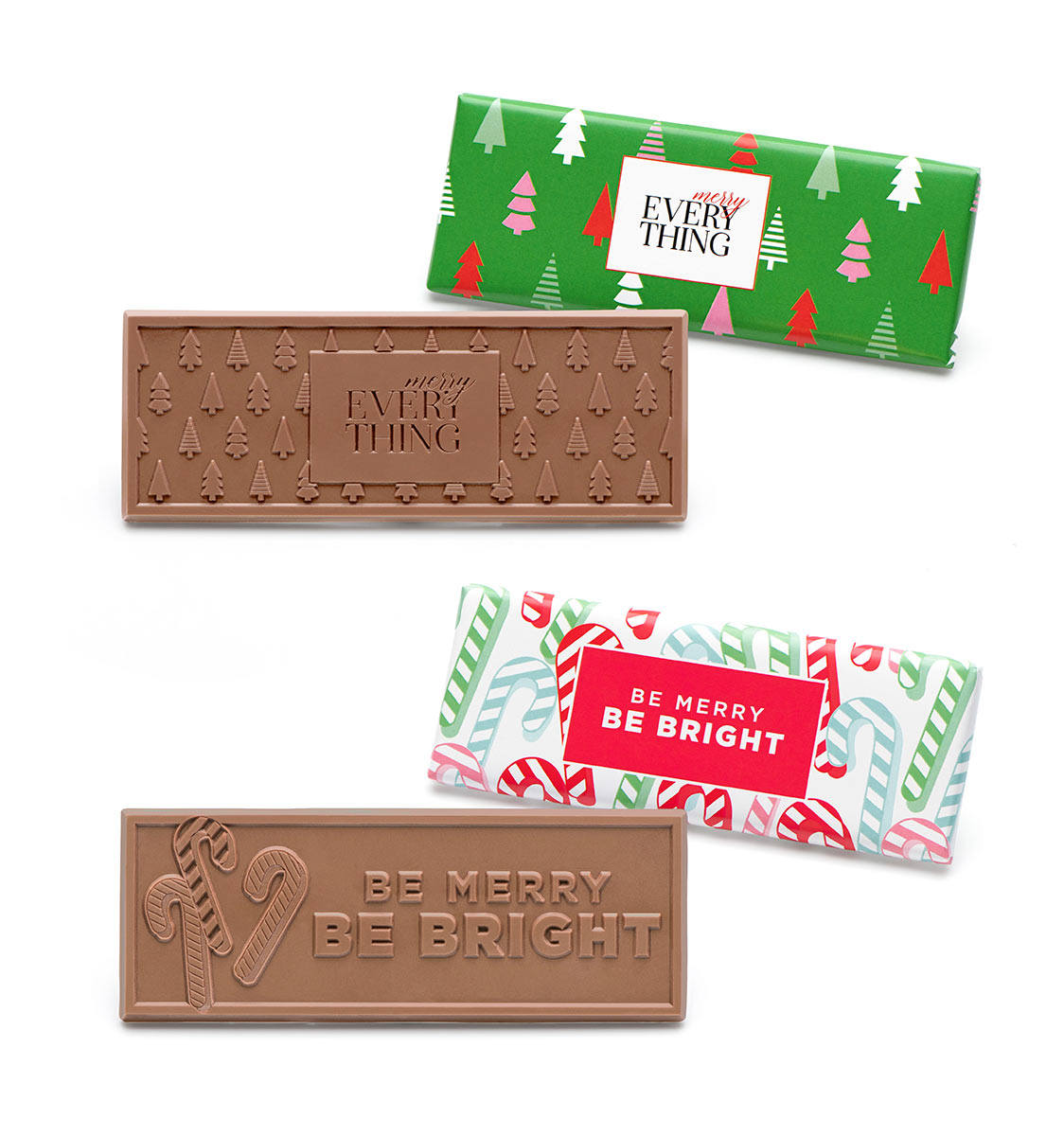 Holiday Wrapper Bars Belgian Milk Chocolate Case Of 50