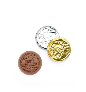 ready-gift-chocolate-let's-celebrate-milk-chocolate-silver-gold-foiled-coin