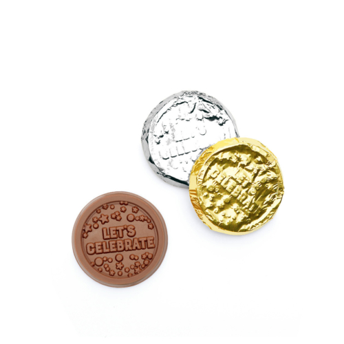 You can celebrate your party with these custom chocolate coins