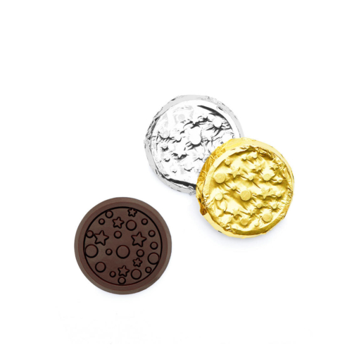 Personalized chocolate coins design with starry sky