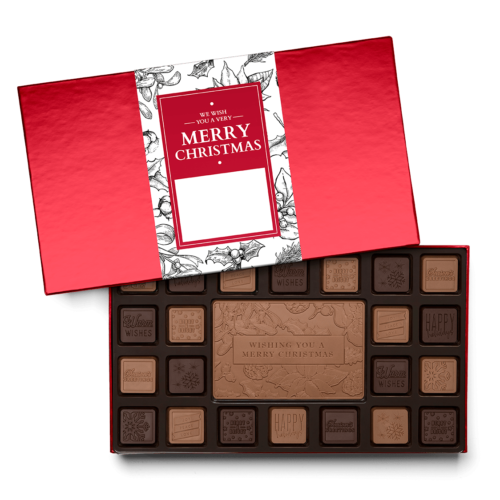 We can customized your chocolate squares for Merry christmas