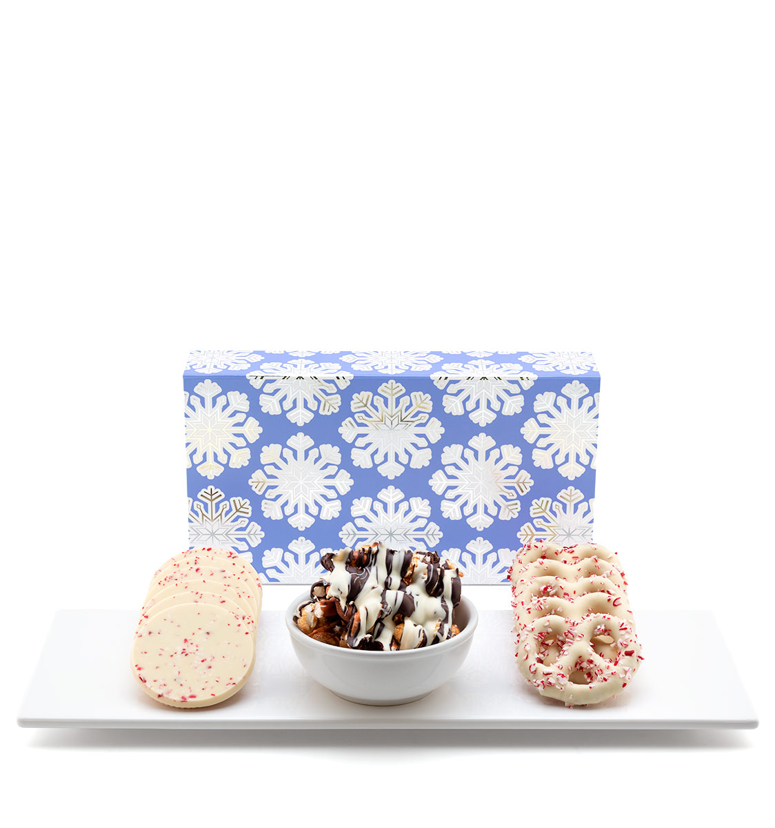 ready-gift-chocolate-SHX230766T-shimmering-snowflake-peppermint-popcorn-pretzels-bark-luxury-tasting-box-featured