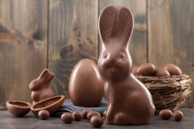 Chocolate Easter bunny and eggs.